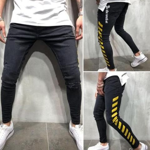 9a335aa0ecc Hirigin 2018 Plus Size Jeans Men Stretchy Slim Fit Denim Pants Fear Of God  Fashion Skinny