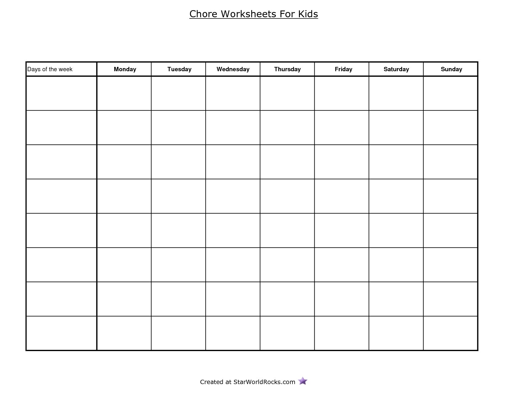 Best Photos Of Free Printable Blank Charts