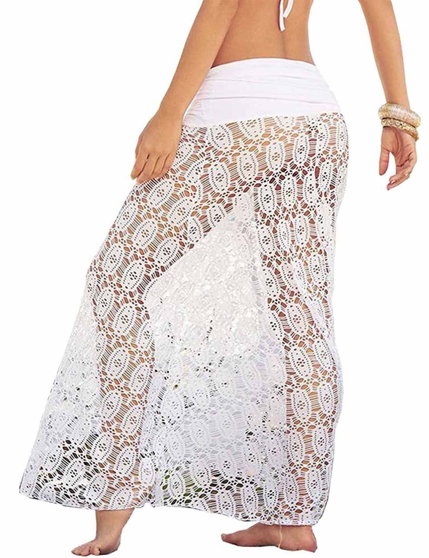 94d20549a1fb6 Vivilover Womens Lace Crochet Tunic Beach Dress Swimwear Cover Up Wrap  white *** Click
