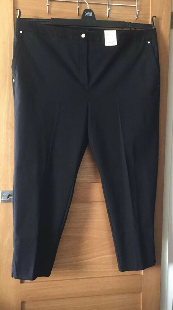PER UNA Navy Roma Slim Leg Trousers Size 24 RRP £39.50