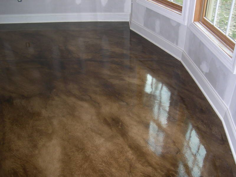easy diy stained concrete floors stain cement to look like wood love would add radiant heat dark in kitchen