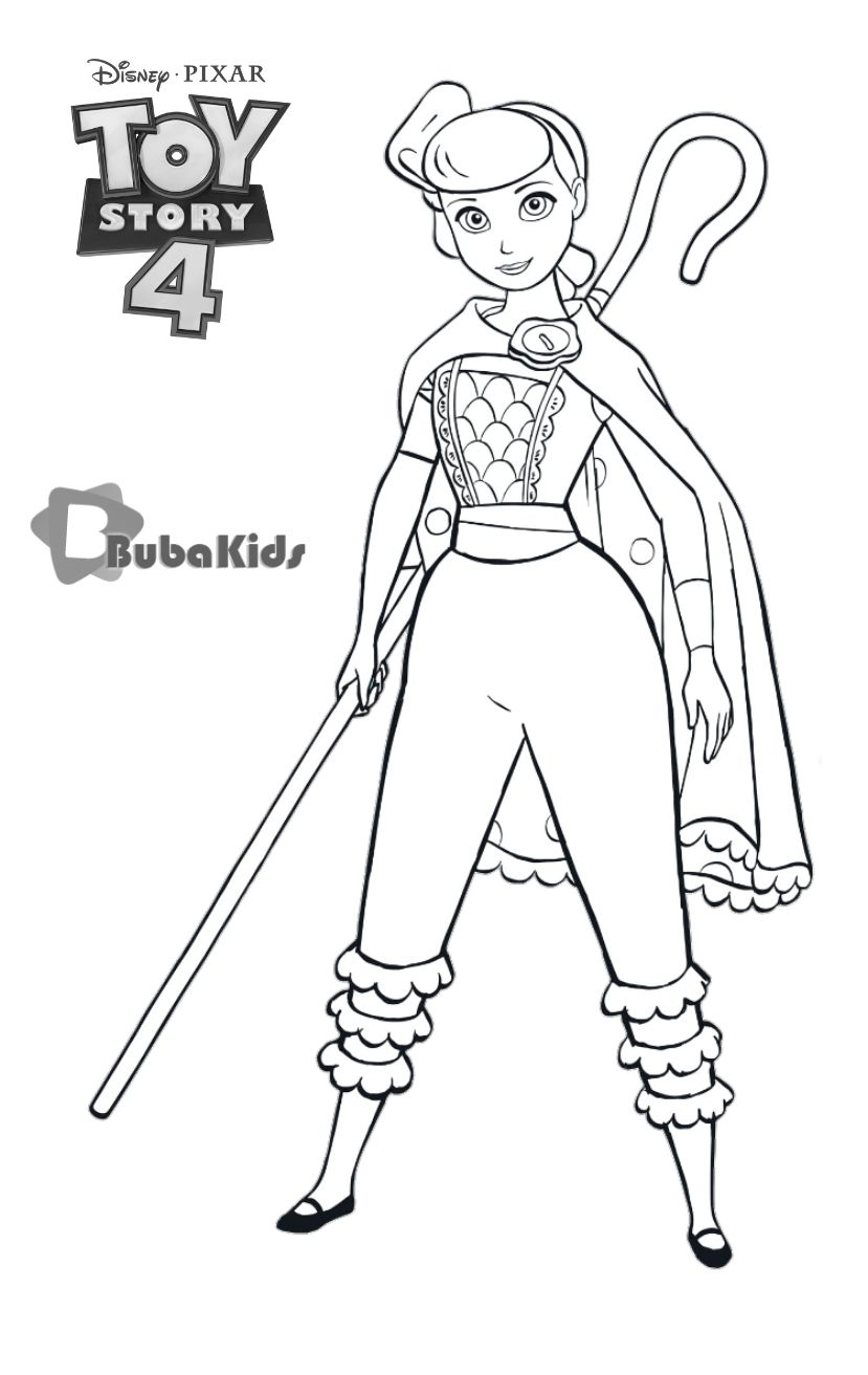 Bo Peep Is A Very Romantic And Levelheaded Toy She Has Strong Feelings For Woody And Car Toy Story Coloring Pages Cartoon Coloring Pages Disney Coloring Pages