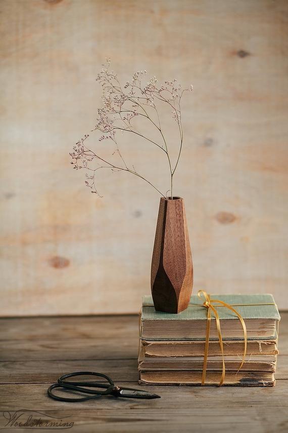 Wavy wood vase - minimalist flower vase - bud vase