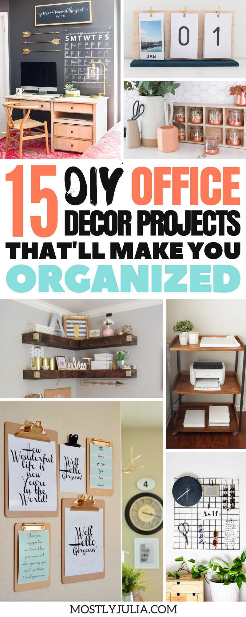 15 Diy Office Decor Ideas To Be More Organized Diy Office Decor Desk Organization Diy Diy Office Organization
