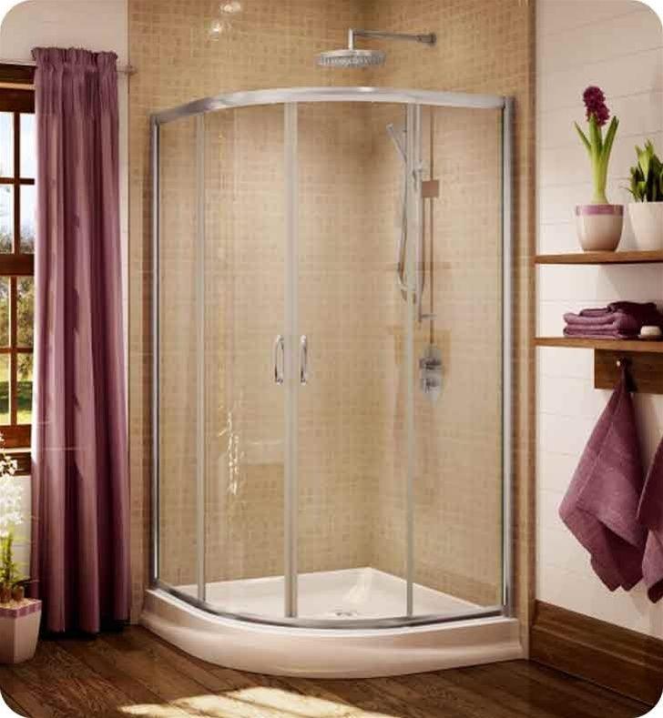Fleurco Signature Capri Round 4 40 Frameless Curved Glass Sliding Shower Doors 4 Panels Shower Doors Sliding Shower Door Shower Sliding Glass Door