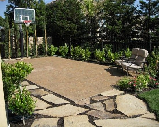 Landscape Basketball Court Design Pictures Remodel Decor And Ideas Basketball Court Backyard Backyard Basketball Outdoor Basketball Court