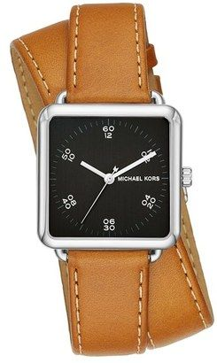 34bf9ac9d107 MICHAEL Michael Kors  Brenner  Square Leather Strap Watch 31mm  watches   womens