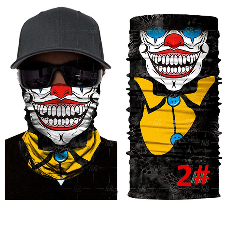 Sonicee 3D Clown Face Mask Shield Headwear Neck Tube