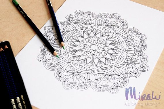 Mindfulness Coloring Pages Pdf : Mindfulness mandala adult coloring page printable pdf