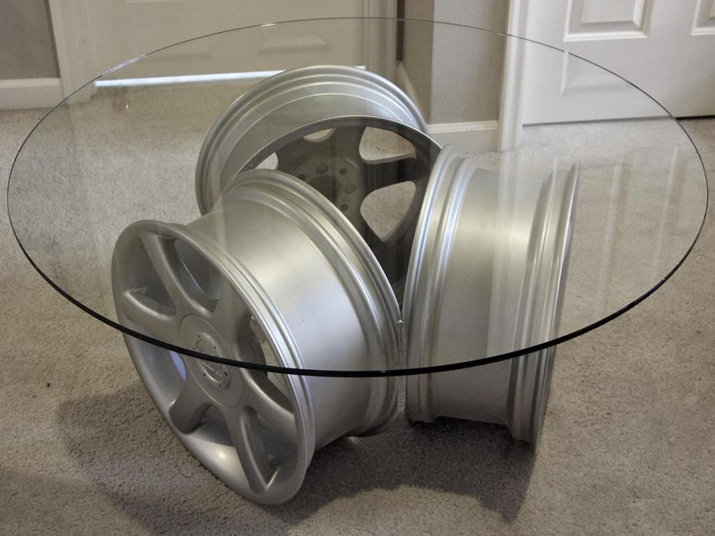 Cool tables glass table with 3 msw wheels by oz wheels for Car part coffee table