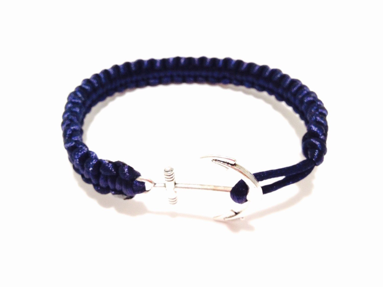 hook bracelet leather deforestjewelry silver navy love products