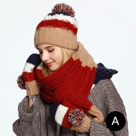 88775040ec7 Color block knit hat scarf and gloves set for women best Christmas gift