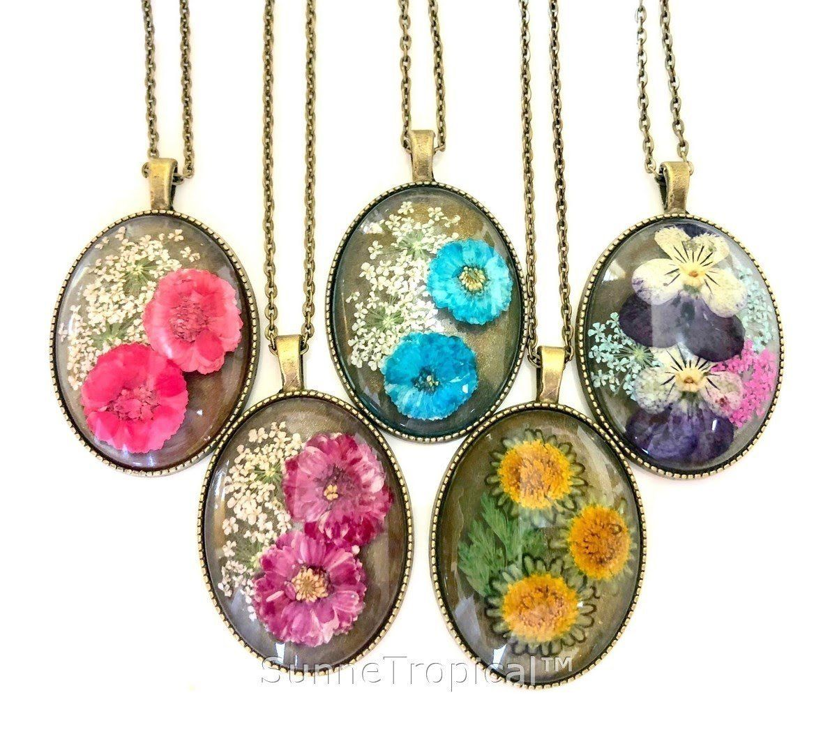 Daisy real pressed flower jewelry vintage oval pendant necklace