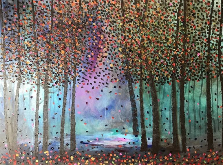 Original Tree Painting by Henrieta Angel | Impressionism Art on Canvas | Large dfreamy forest colorful leaves woods trees  Original Tree Painting by Henrieta Angel | Impressionism Art on Canvas | Large dfreamy forest color #Angel #Art #canvas #Colorful #dfreamy #forest #Henrieta #Impressionism #Large #leaves #Original #Painting #Tree #Trees #Woods