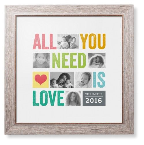 All You Need Is Love Framed Print, Rustic, Modern, White, White, Single piece, 12 x 12 inches