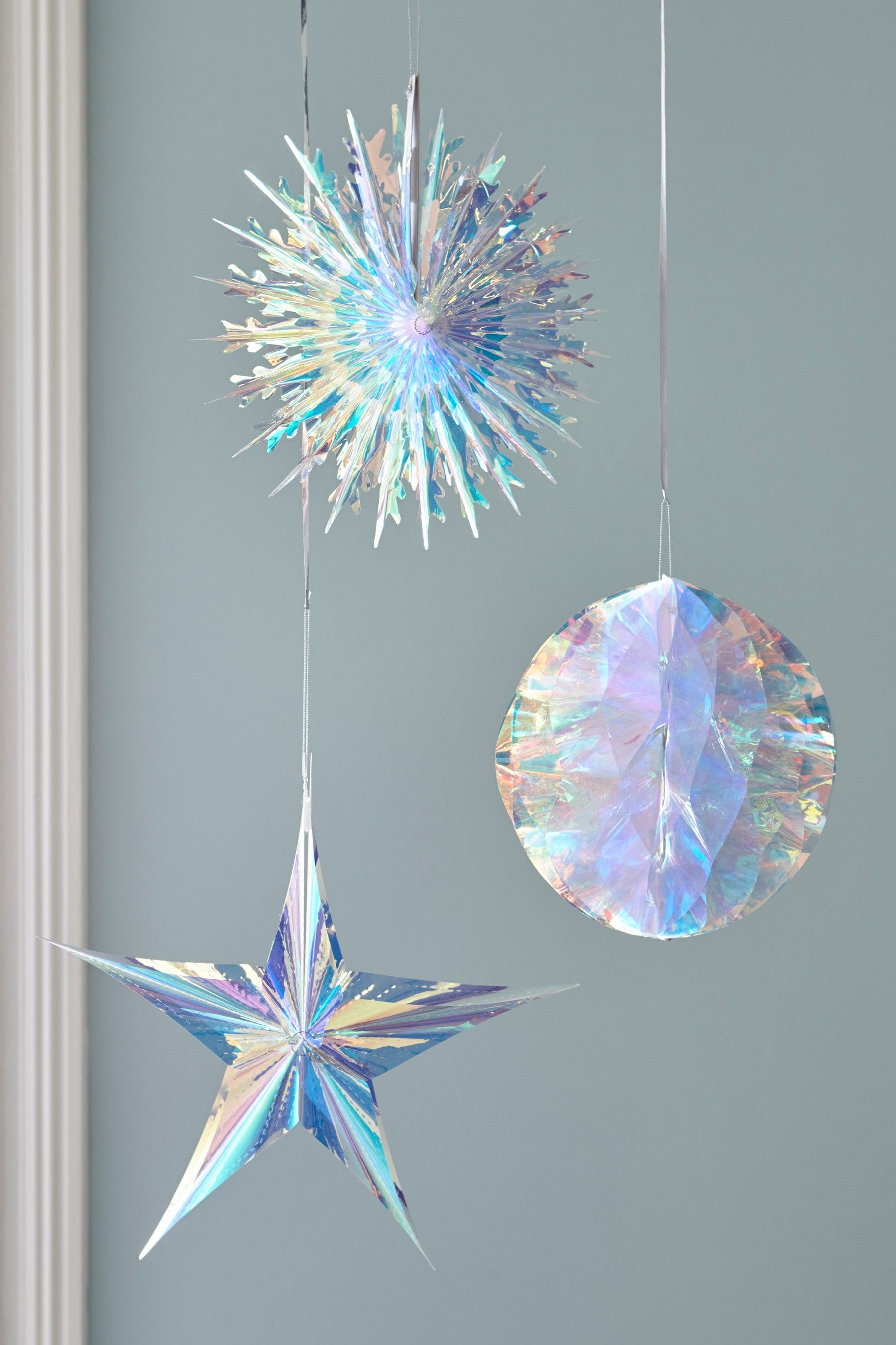 Iridescent Paper Hanging Decorations