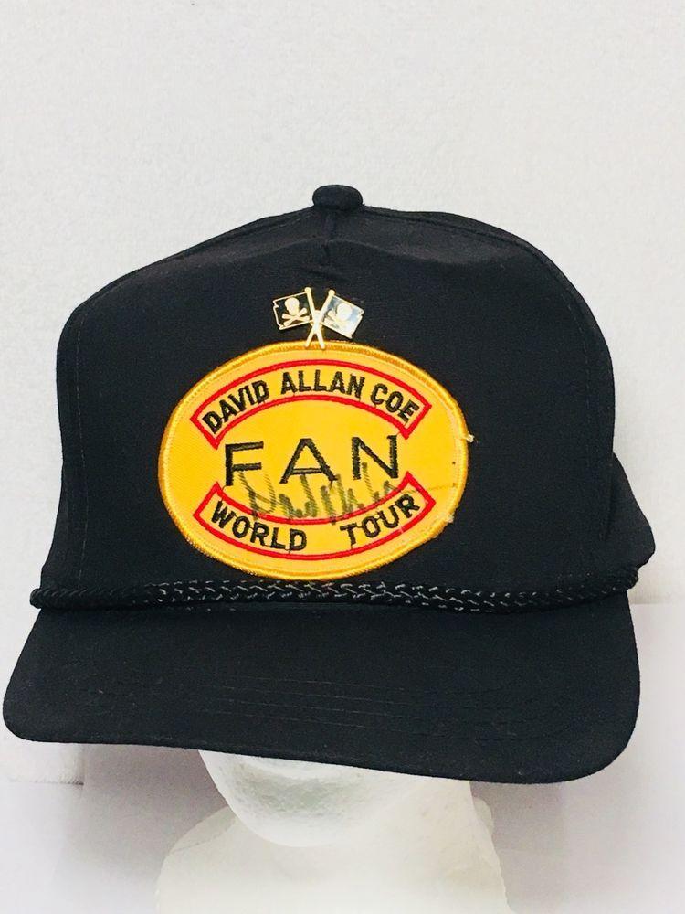size 40 24dd5 21f9a 1980s David Allan Coe Signed World Tour Snapback Hat + Original Pirate  Flags Pin   eBay
