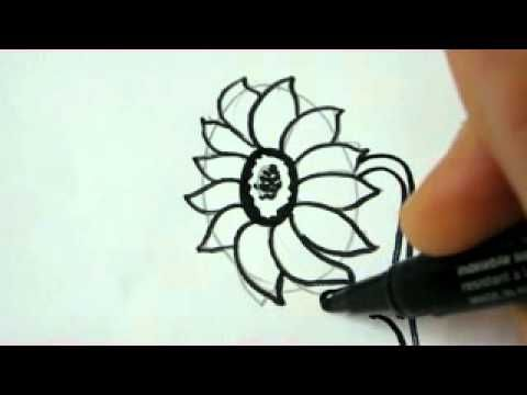 how to draw a sunflower video