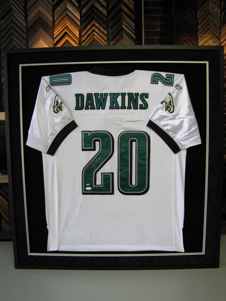 super popular d3d43 fb4d9 Custom Framed Brian Dawkins Jersey. | Jersey Framing ...
