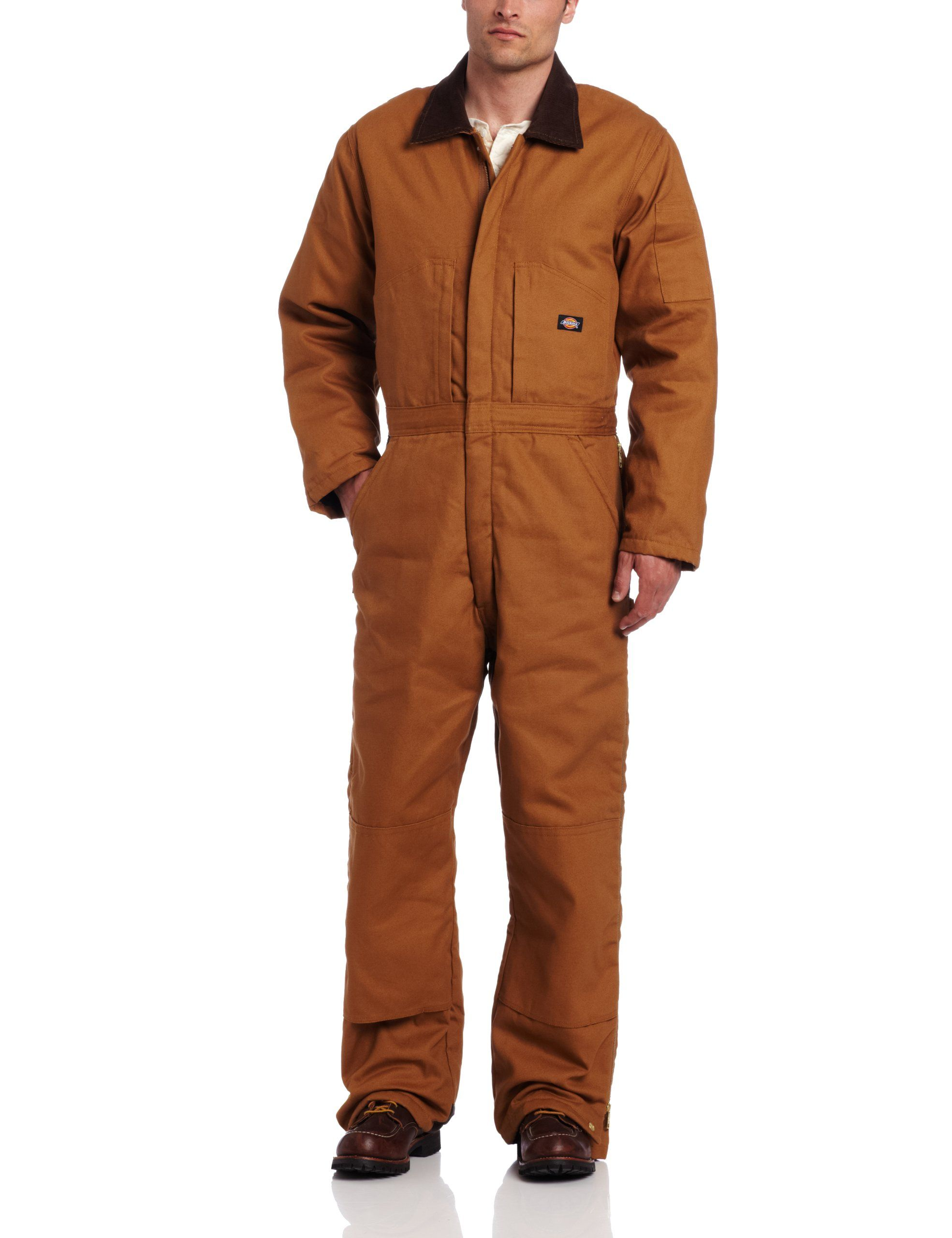 dickies men s insulated coverall brown duck small on insulated overalls id=79948