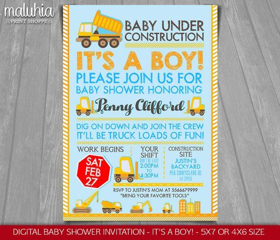 Construction Baby Shower Invitation Baby Under