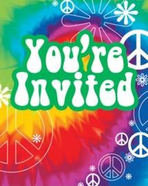 Tye Dye 60s Party Invitations