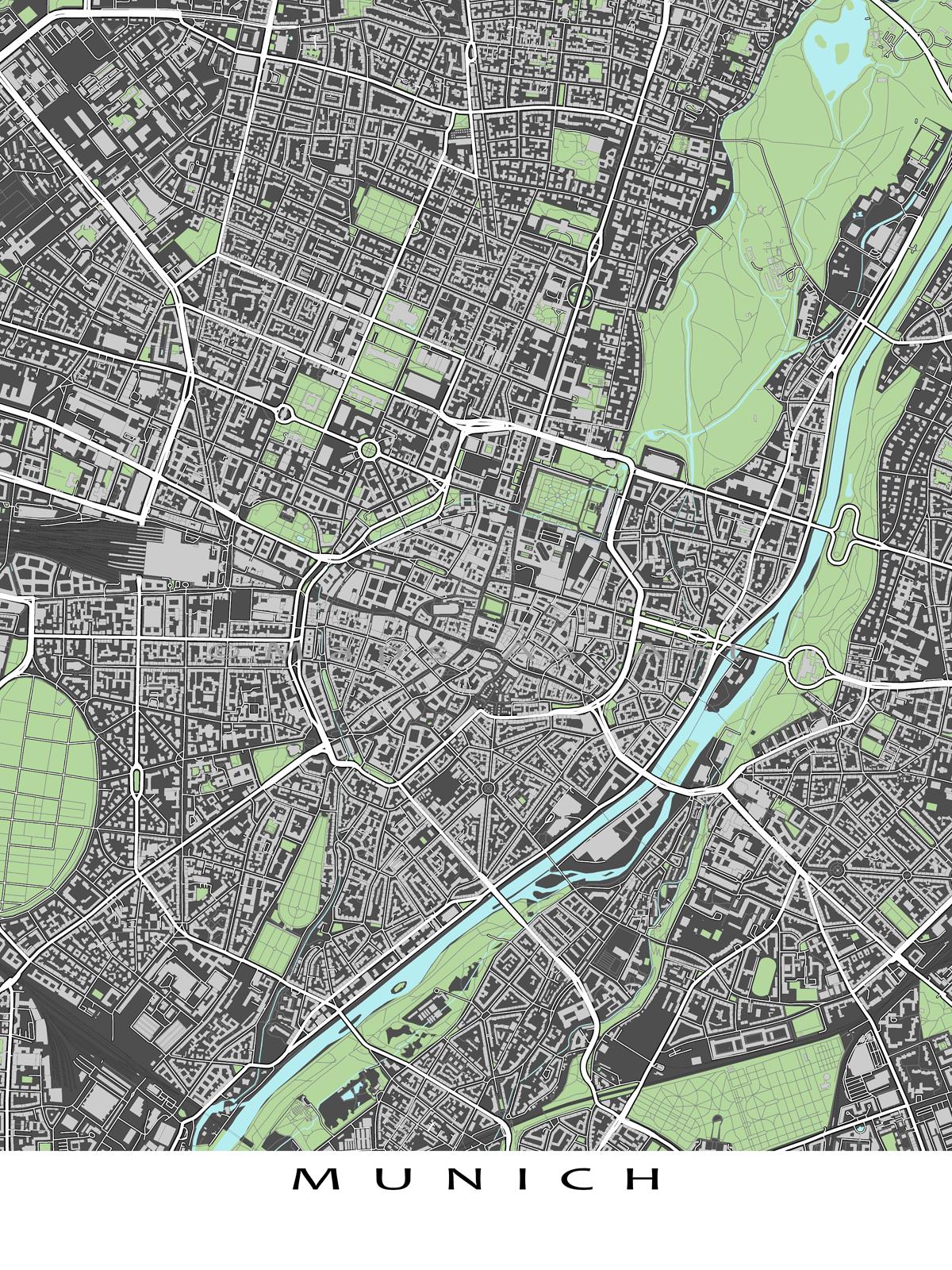 Munich Germany, City Map Print, Street Map, Buildings, Munich Map ...