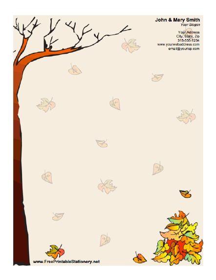Autumn Stationery Free Stationery Stationery Stationery Templates