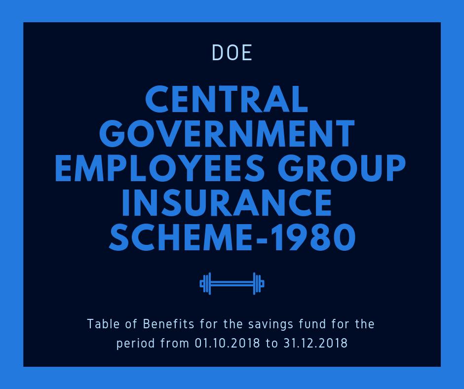 Central Government Employees Group Insurance Scheme 1980 Table Of Benefits For The Savings Fund For The Period Group Insurance Central Government Government