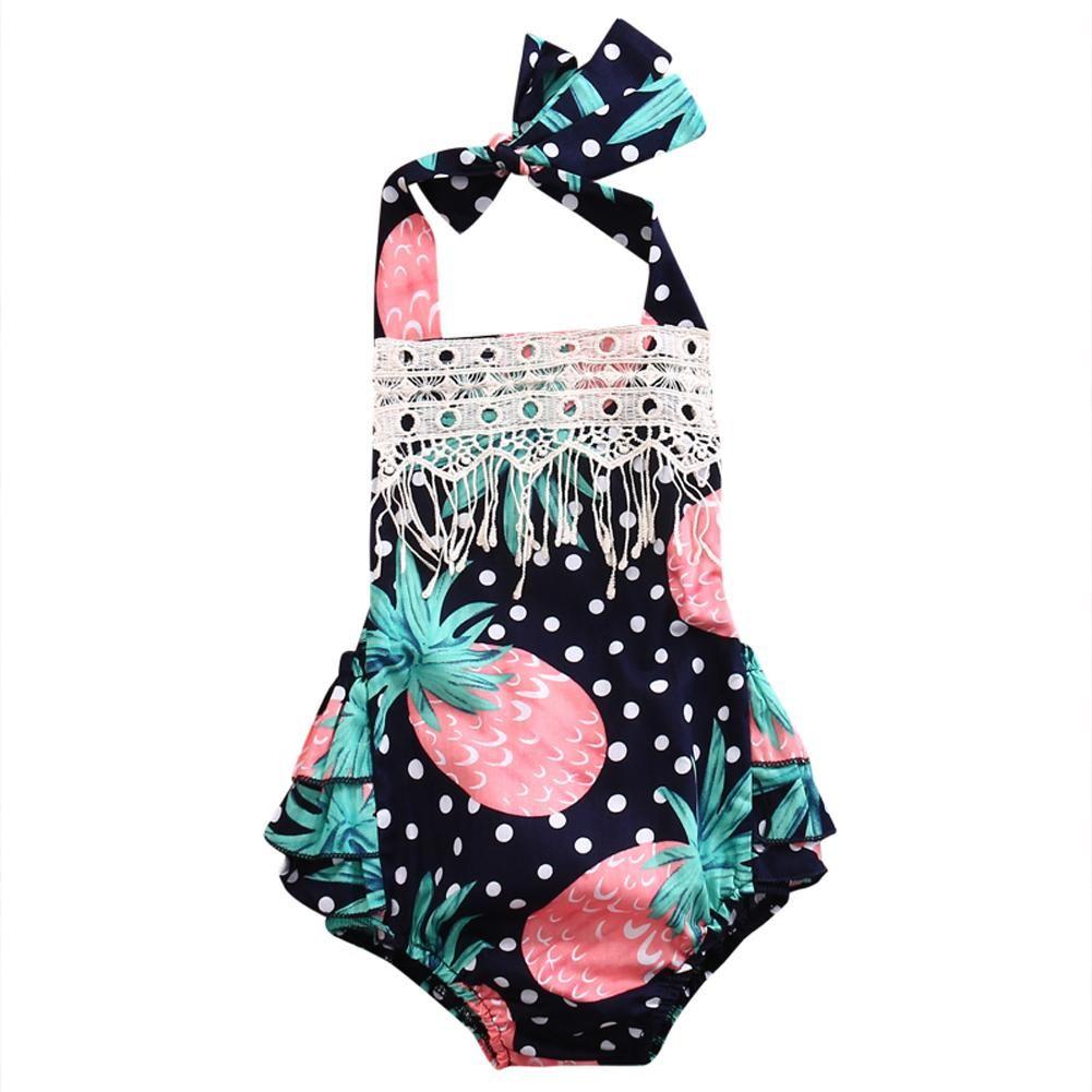 2280f54c93d6 Summer Newborn Infant Baby Girl Lace Tassel Floral Romper Jumpsuit Outfits  Sun-suit Clothes