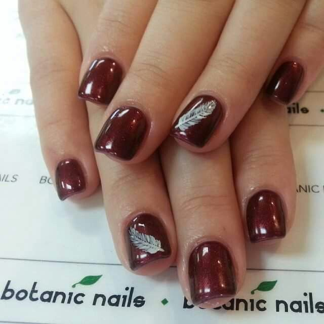Burgundy feathered nails | Nails | Pinterest | Feather nails