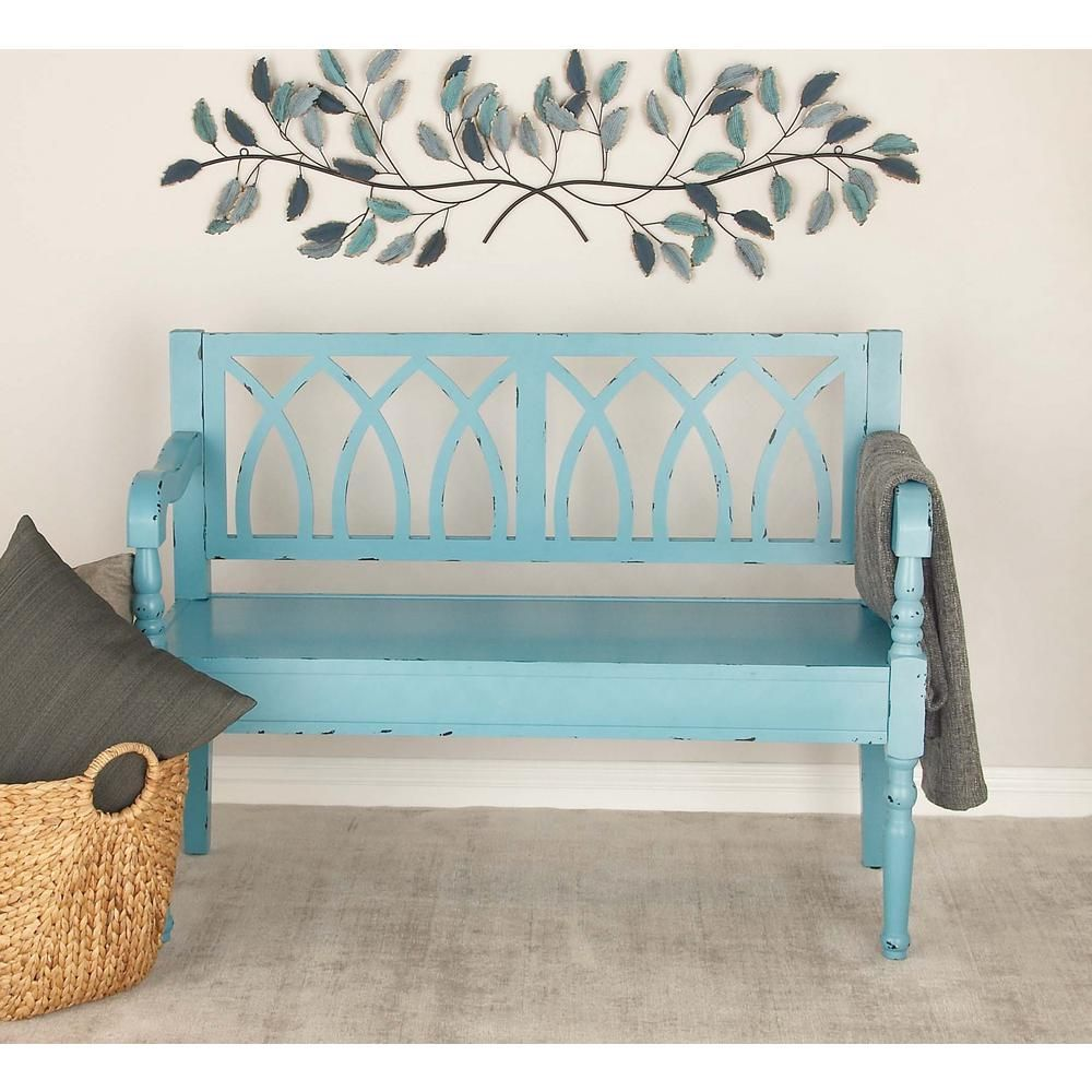 Distressed Teal Wooden Bench 60156 Wooden Bench Wood Entryway Bench Distressed Bench