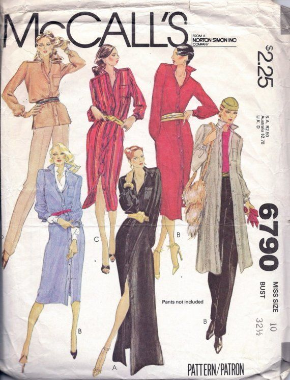 McCalls 6790 VINTAGE 1979 Misses Shirt and by ReduxPatterns (Craft Supplies & Tools, Patterns & Tutorials, Sewing & Needlecraft, Sewing, sewing, women, misses, dress, shirt, blouse, long sleeve, shirtwaist, mccalls, vintage)
