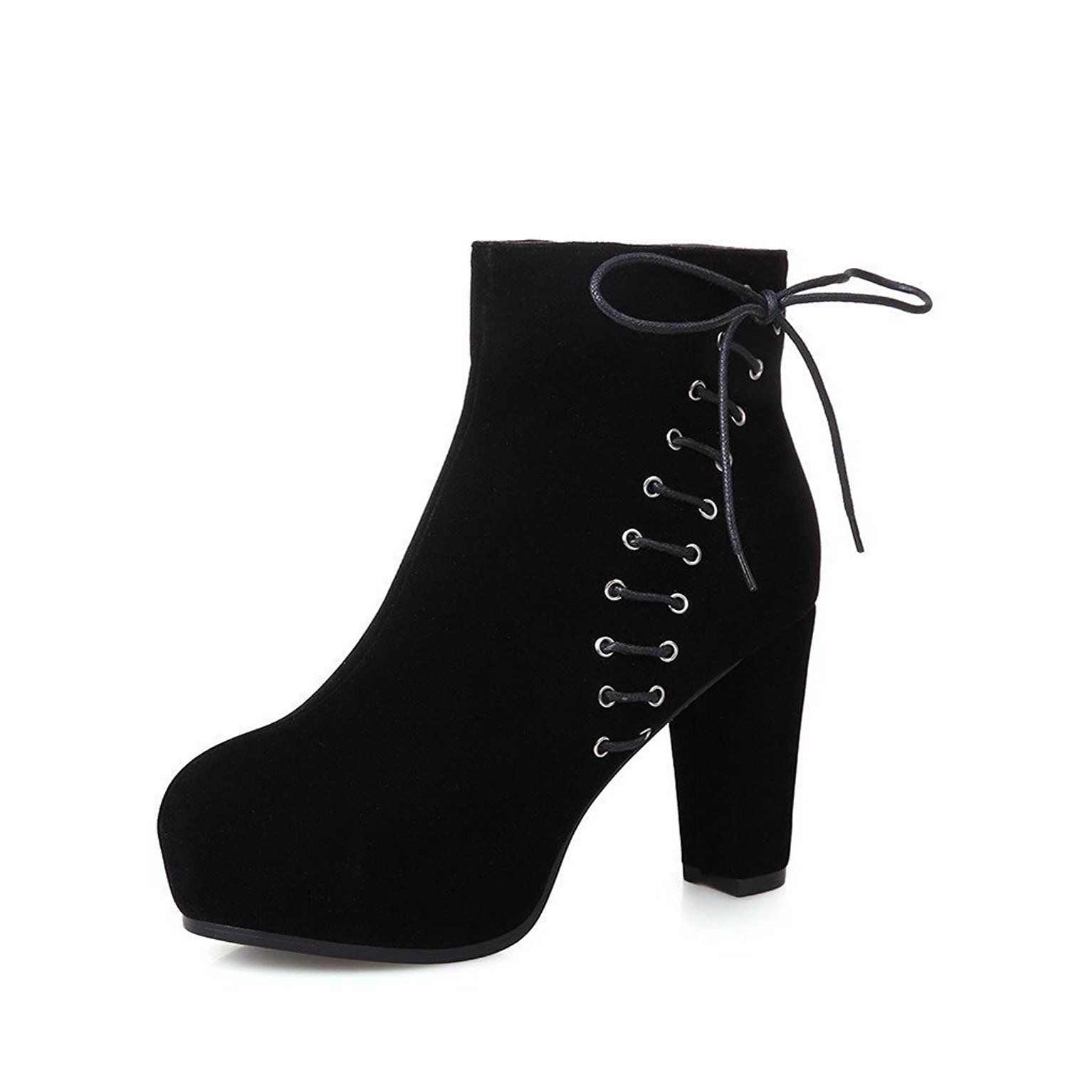 Women's Imitated Suede Frosted Low-top Round Closed Toe High-heels Boots
