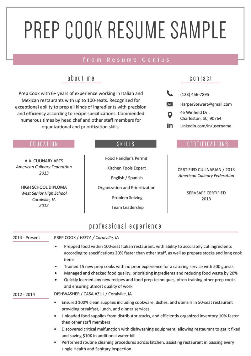 Prep Cook Resume Example & Writing Tips Resume examples