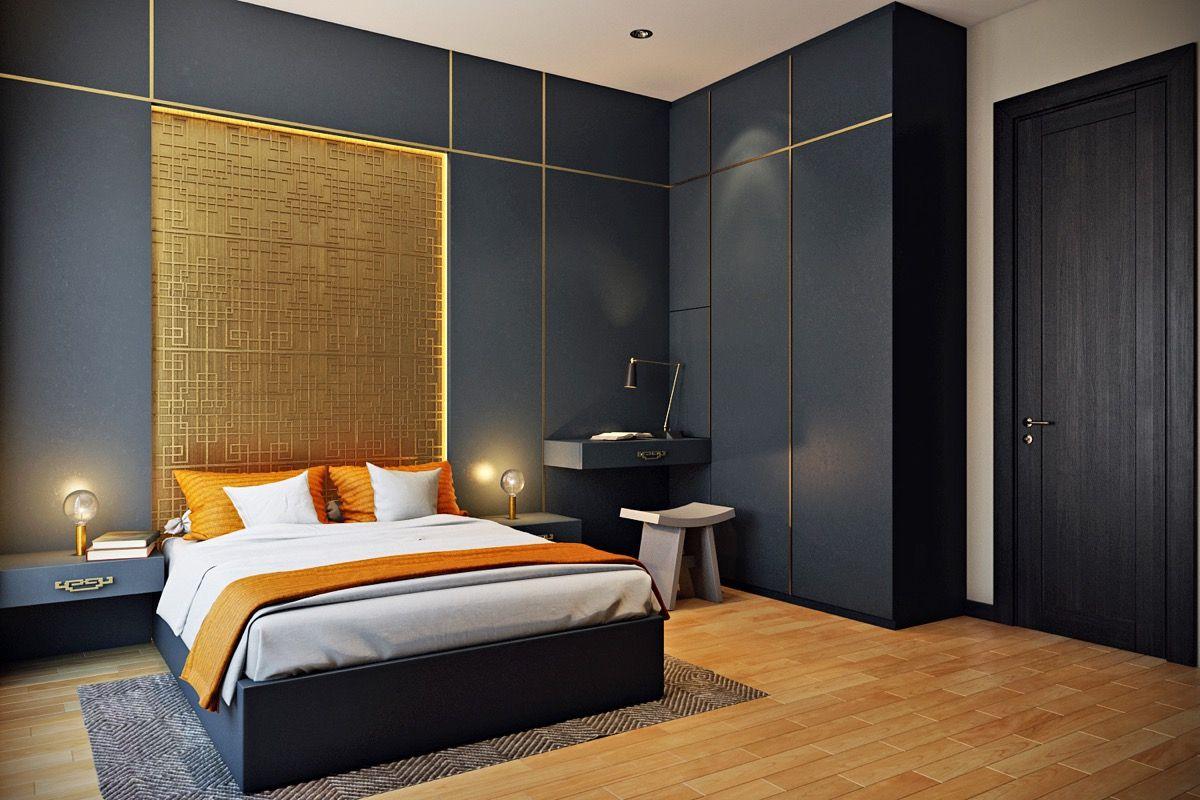 bedroom-golden-feature-wall.jpg (1200×800) - Slaapkamer | Pinterest ...