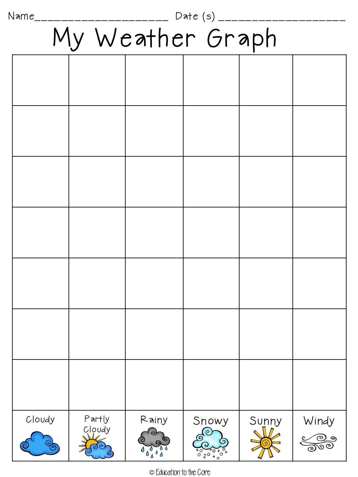 Weather Graphing And Writing Freebie Great For Recording The Different Weather Patterns In