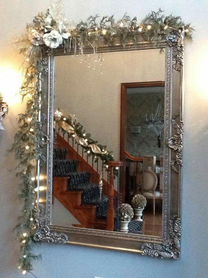 Garland Over Large Mirrors Creative Christmas Holiday Decor Decor