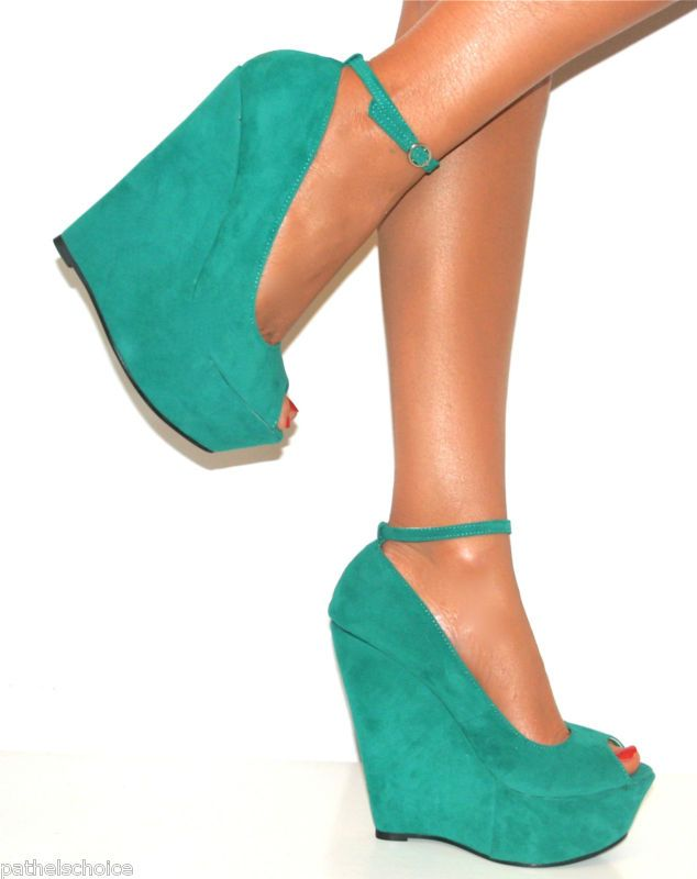 7e88c0e63da Love these shoes. I am jade. LADIES JADE GREEN PEEP TOE HIGH WEDGE HEELS  SHOE STRAPPY SANDAL EVENING PROM 3-8