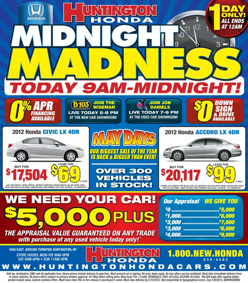 Midnight Madness Going On Today Lease Specials Honda Lease New Cars