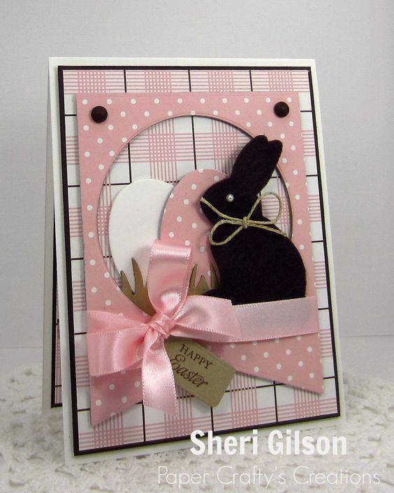 card with critters easter bunny egg eggs - påske kort m hare kanin - Ostern Karte Eier hasen - Paper Crafty's Creations