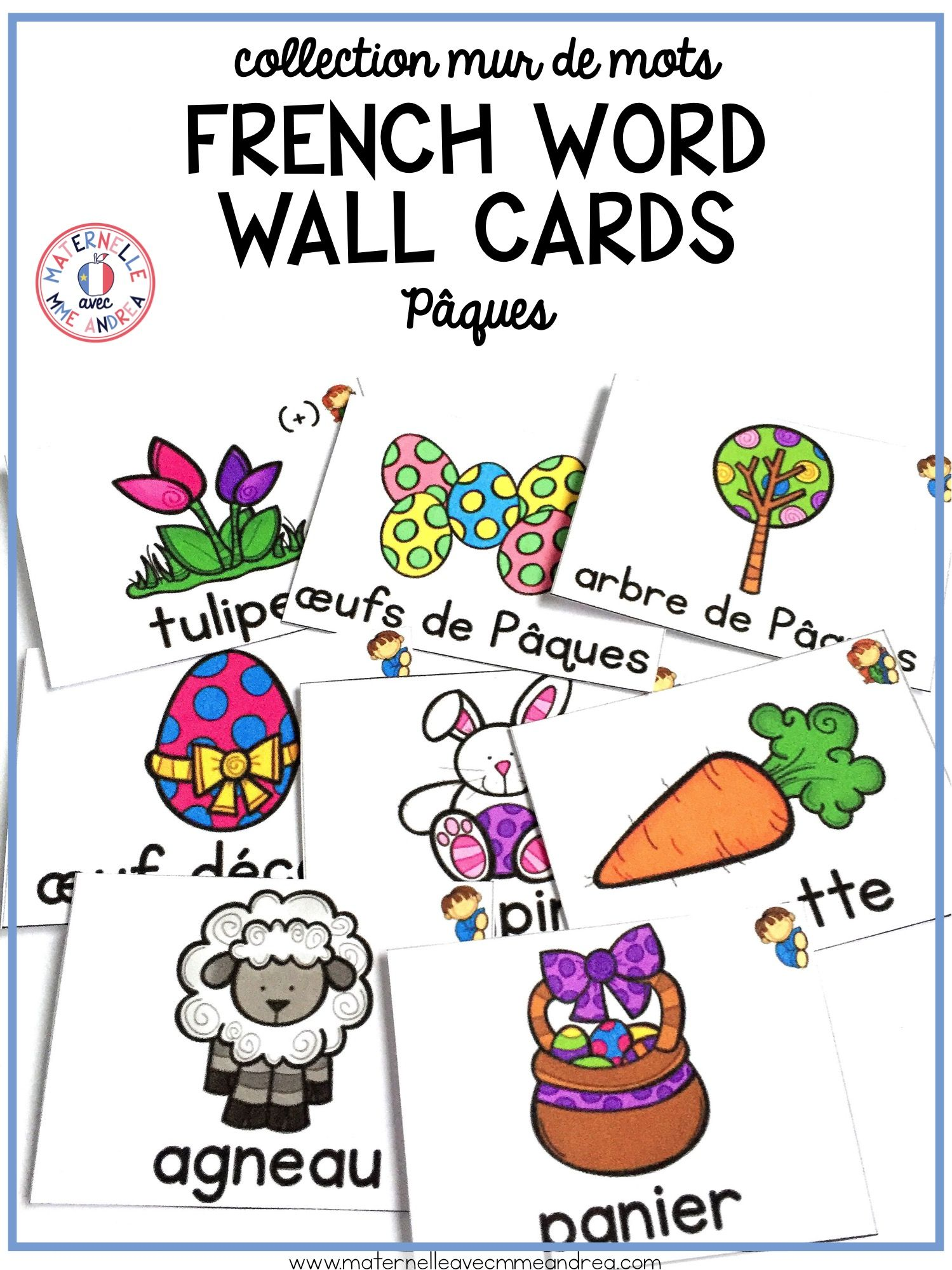 16 Different French Easter Word Wall Cards In Both Colour And Black White Use These To Teach And Review Ea Vocabulary Cards Word Wall Cards Teaching French [ 1999 x 1499 Pixel ]
