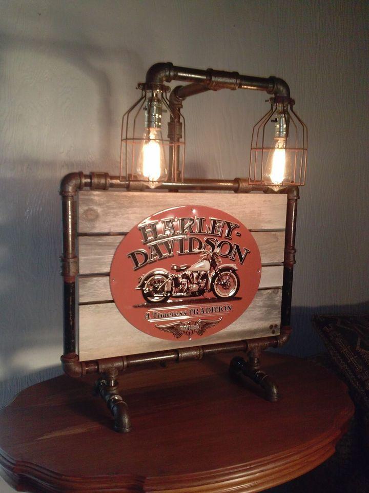 Harley Davidson Industrial Steampunk Art Lamp Harley Davidson
