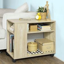 Trolley Side Table Bookcase Bookshelf Coffee End Sorage Unit Lamp