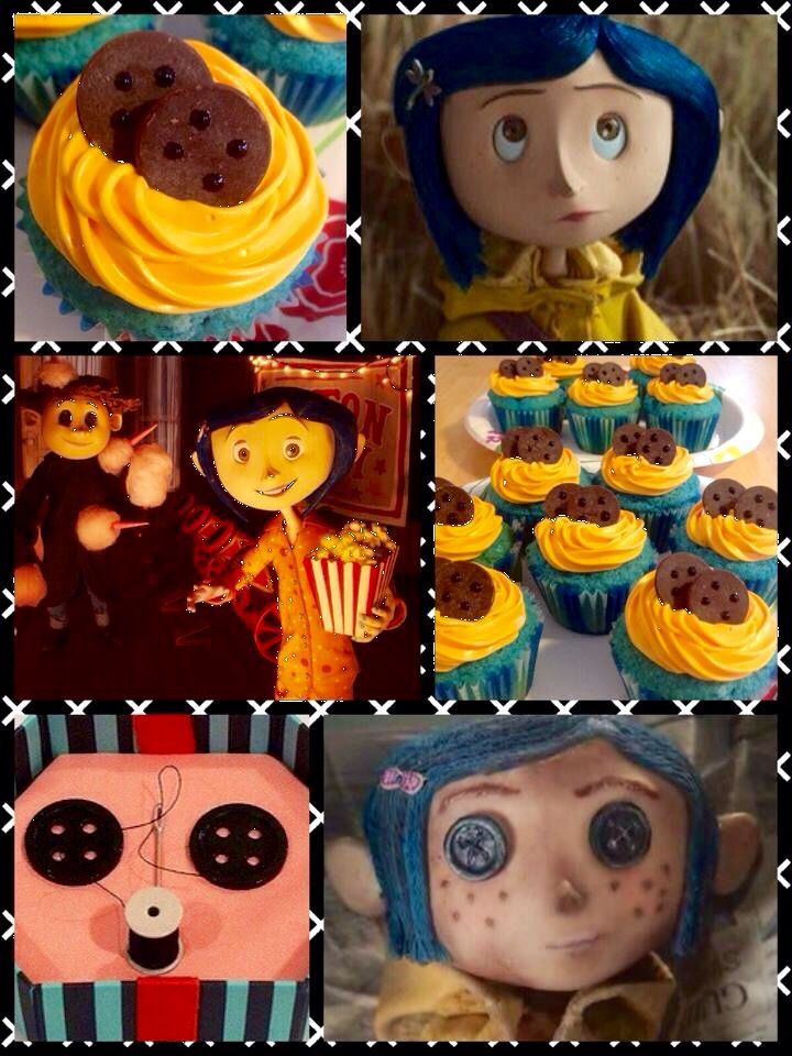 Coraline Button Eye Cupcakes Blue Velvet Cupcakes Yellow Buttercream Ghiradelli Chocolate Wafers Homemade Holiday Coraline And Wybie Coraline