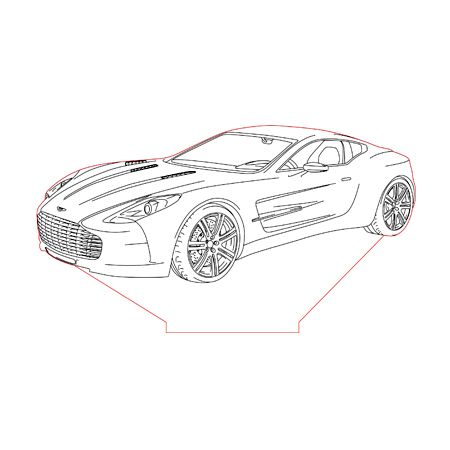 Aston Martin One-77 3d illusion lamp plan vector file for CNC - 3bee ...