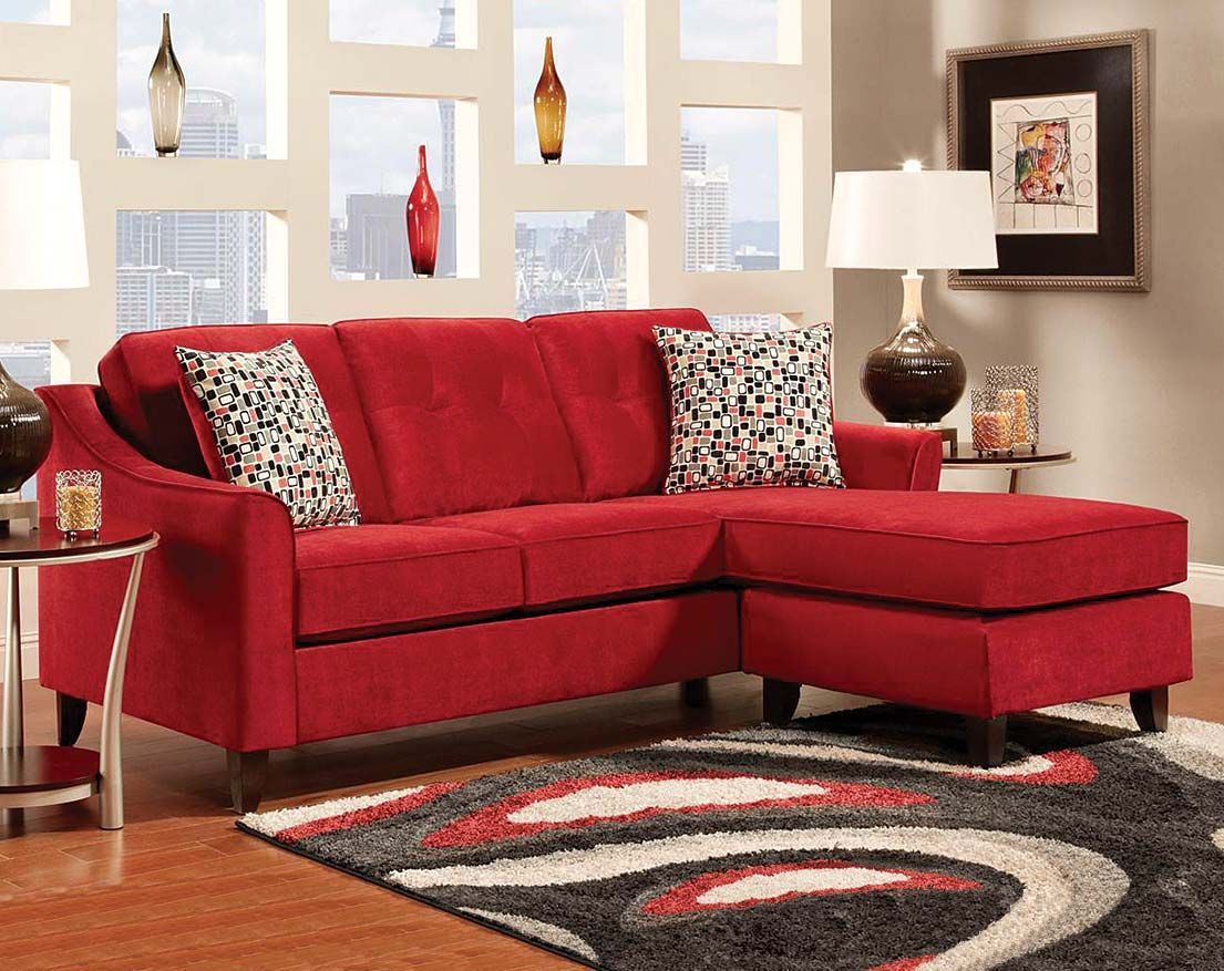 Amazing Red Chenille Couch Elizabeth Crimson Two Piece Sectional Pabps2019 Chair Design Images Pabps2019Com