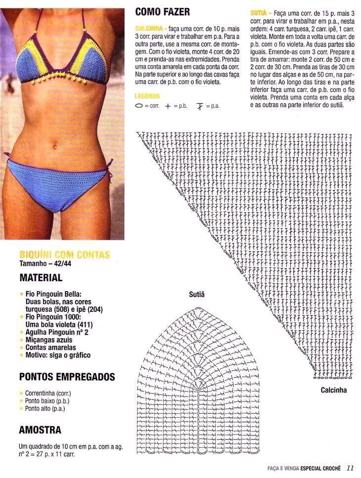 Bikini entre 3 colores ganchillo - Patrones Crochet   stella ruiz ...