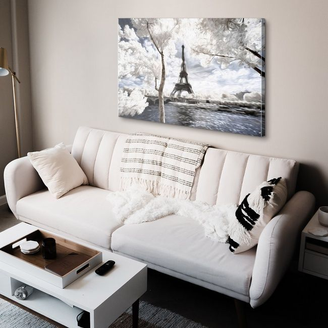 Classic glam living room with Eiffel Tower painting, wall decor
