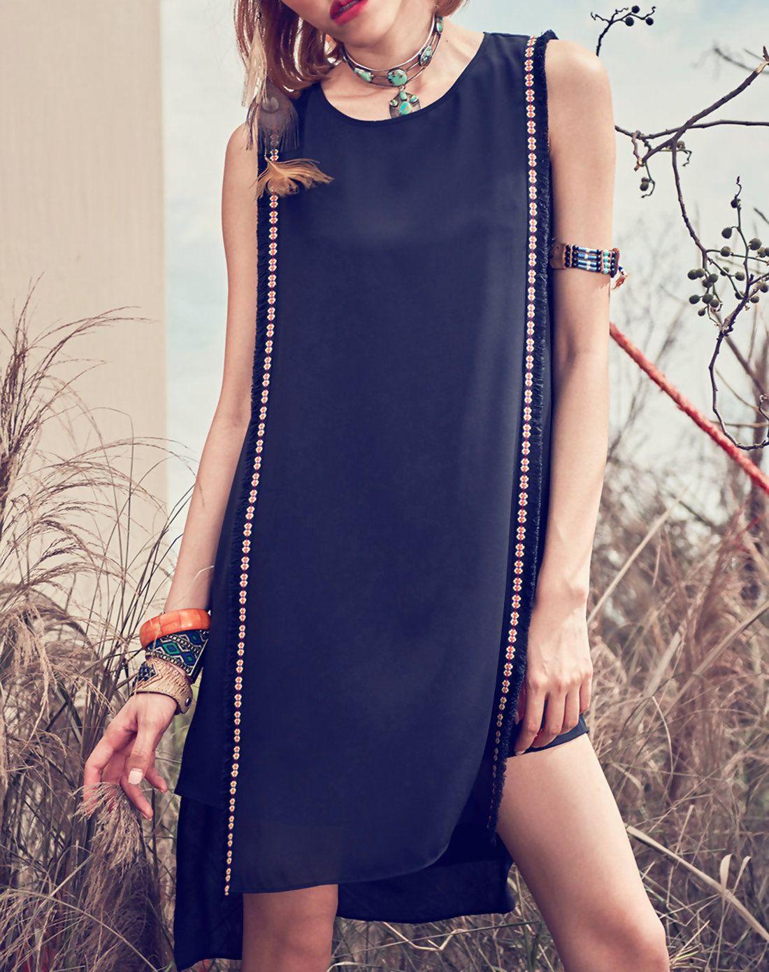 Adorewe aporia as vintage black plain chiffon simple embroidered